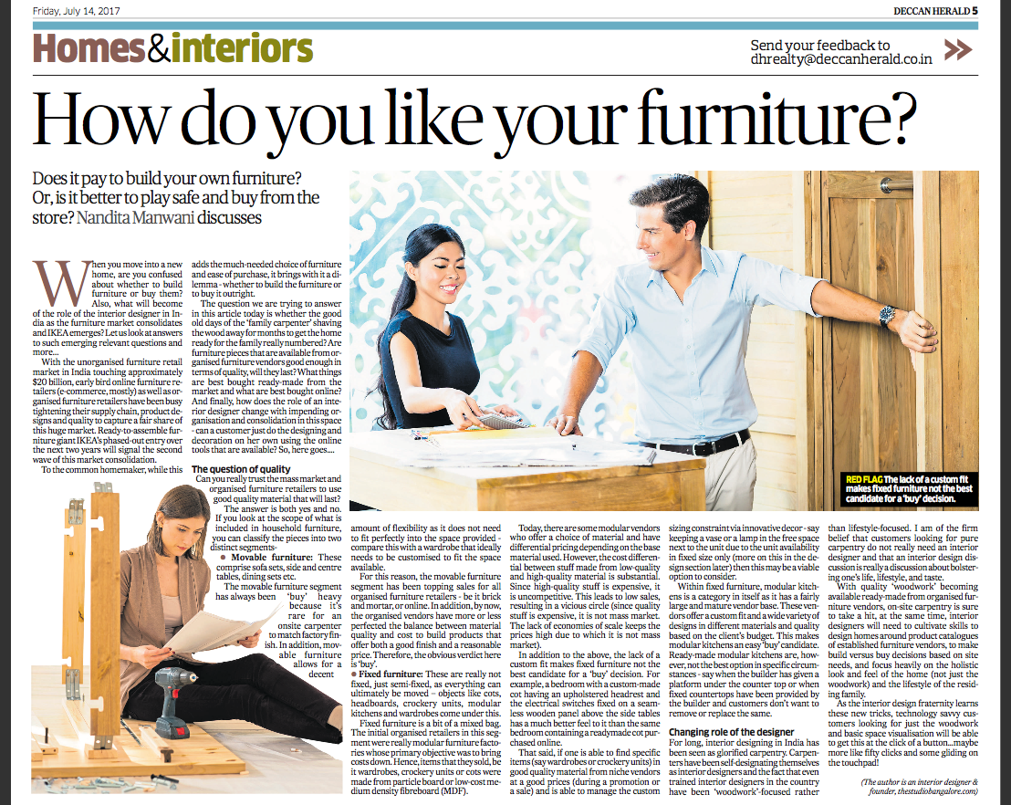 Furniture - Whether to Build or to Buy. And the changing role of the Interior Designer
