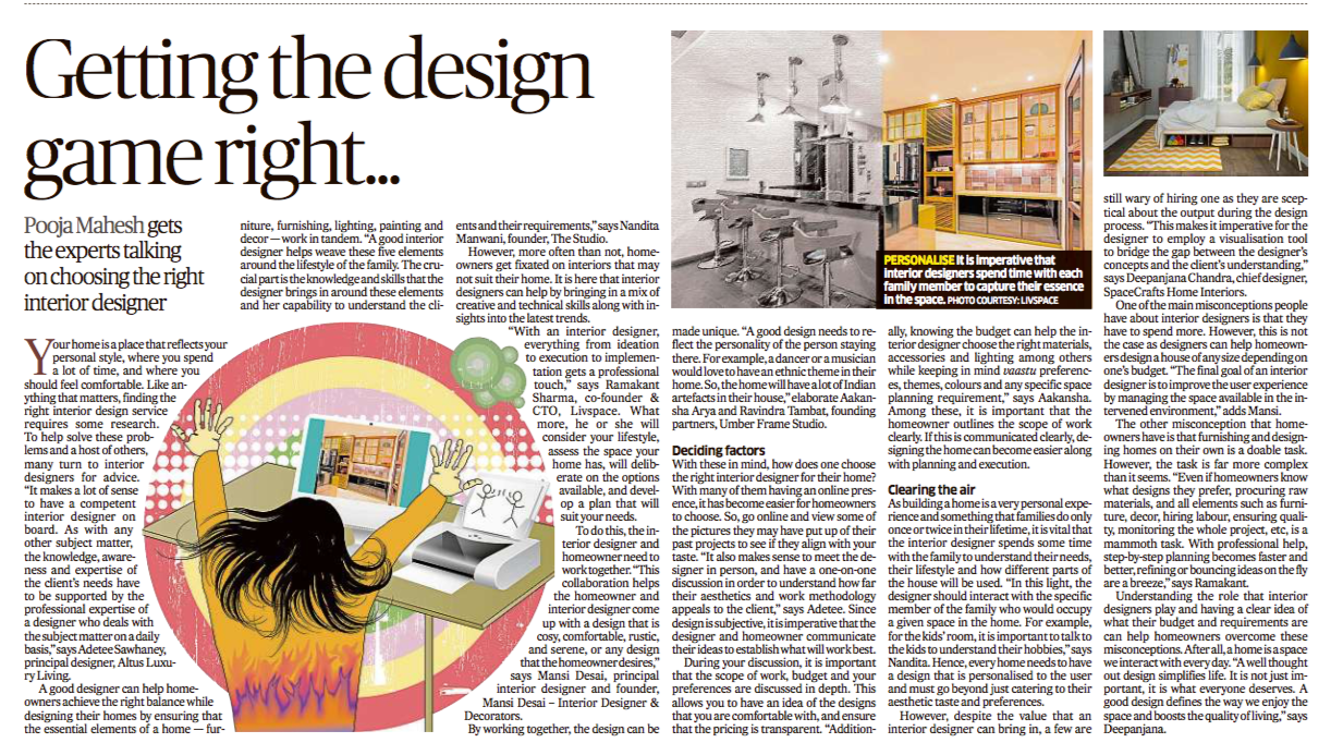 Our point of view on how a good interior designer adds value to home making and things to consider when choosing an interior designer featured in Deccan Herald today